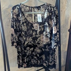 Torrid Black Floral Peplum Top